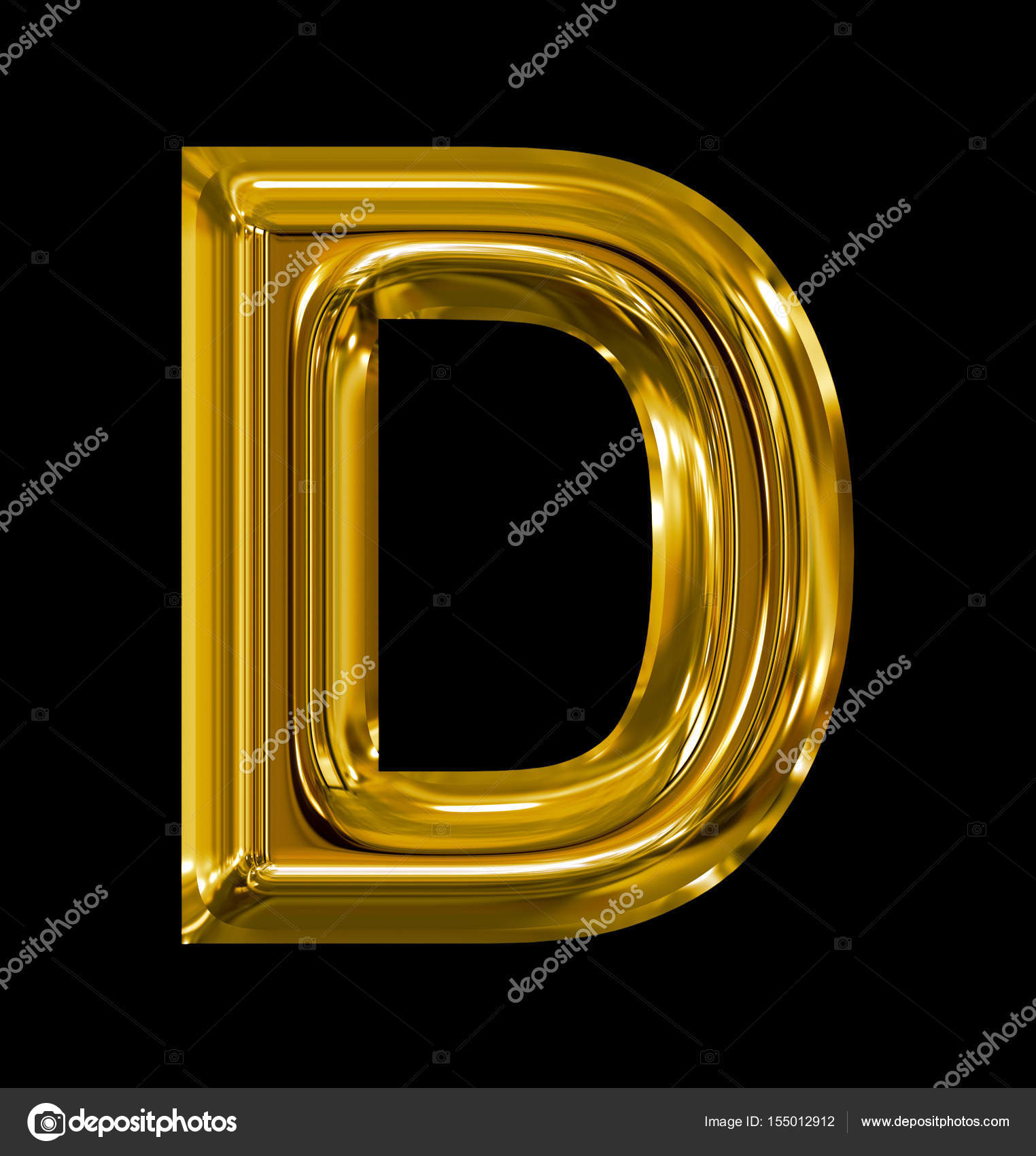 33027b9d8539 letter D rounded shiny golden isolated on black — Stock Photo ...