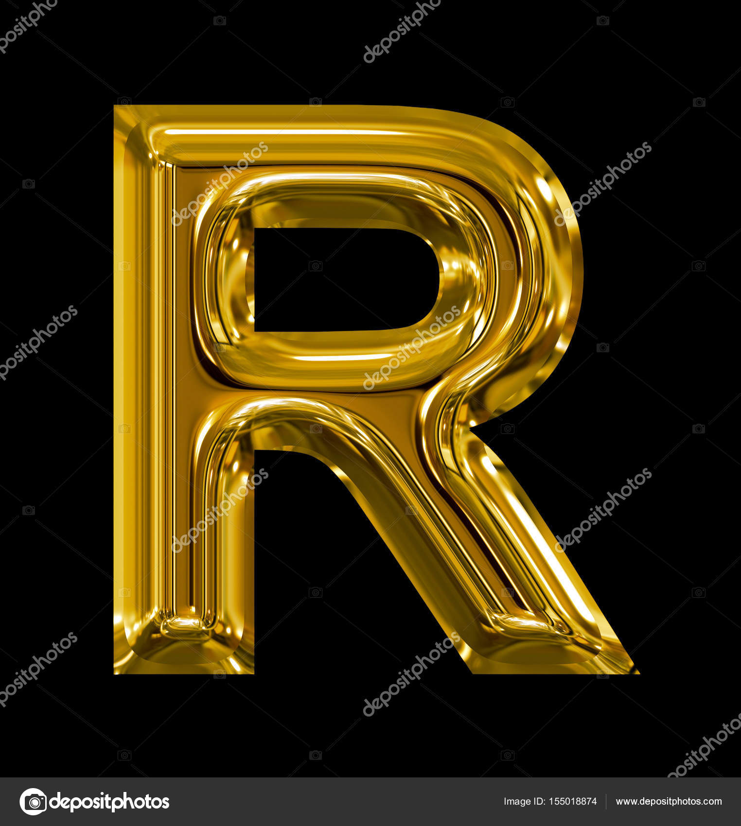 adc64ce6bb5d letter R rounded shiny golden isolated on black — Stock Photo ...