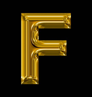 letter F rounded shiny golden isolated on black