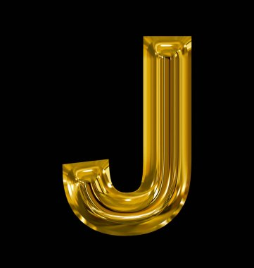 letter J rounded shiny golden isolated on black