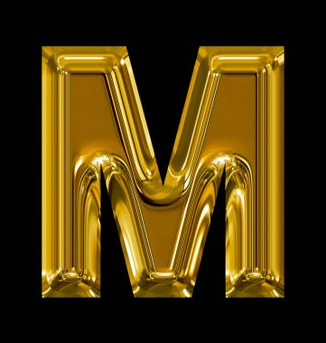 letter M rounded shiny golden isolated on black
