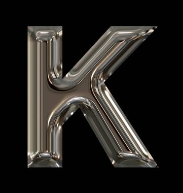 letter K rounded shiny silver isolated on black
