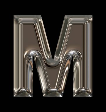letter M rounded shiny silver isolated on black