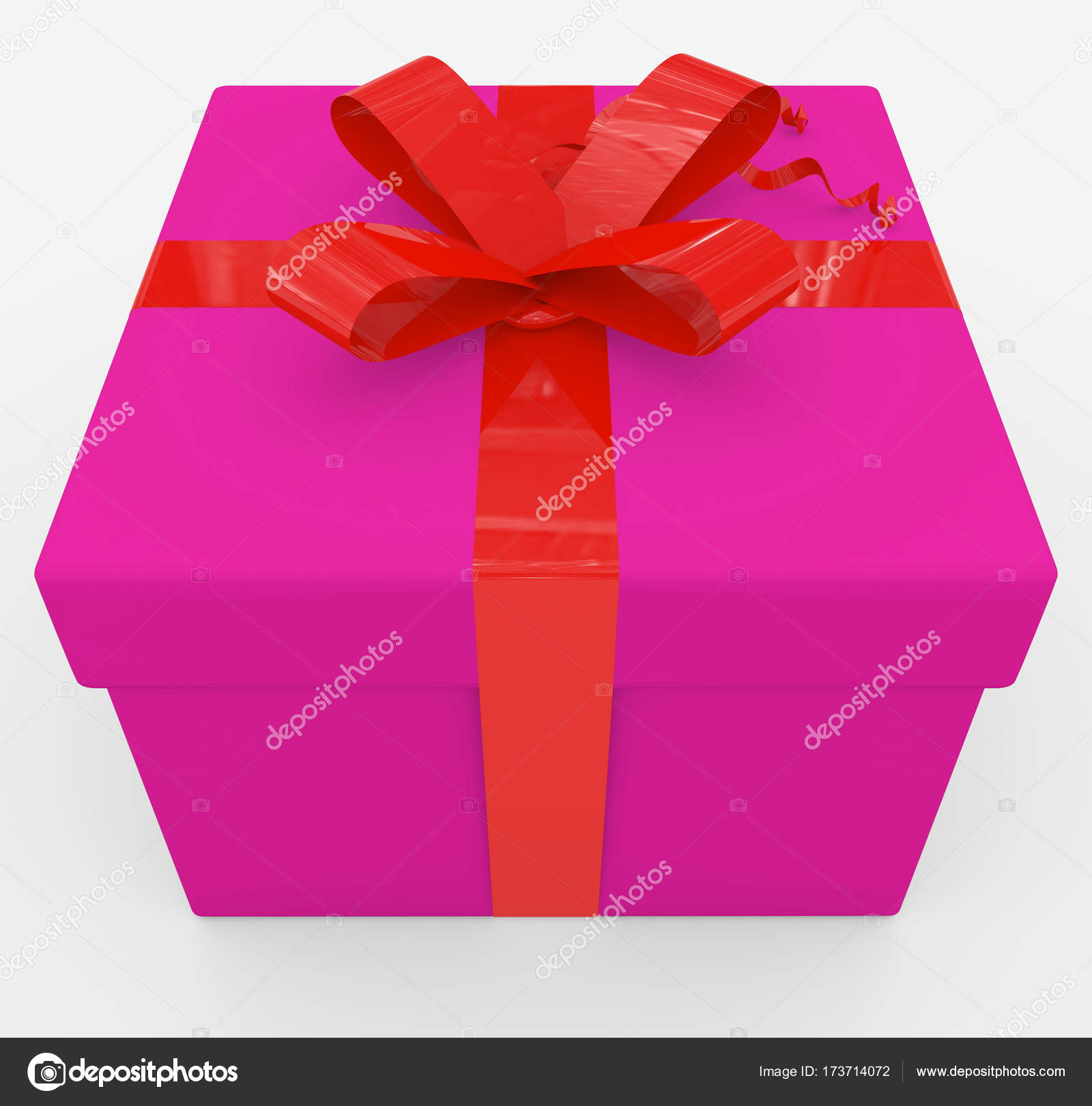 gift box - purple box, red ribbon - isolated on white — Stock Photo ...