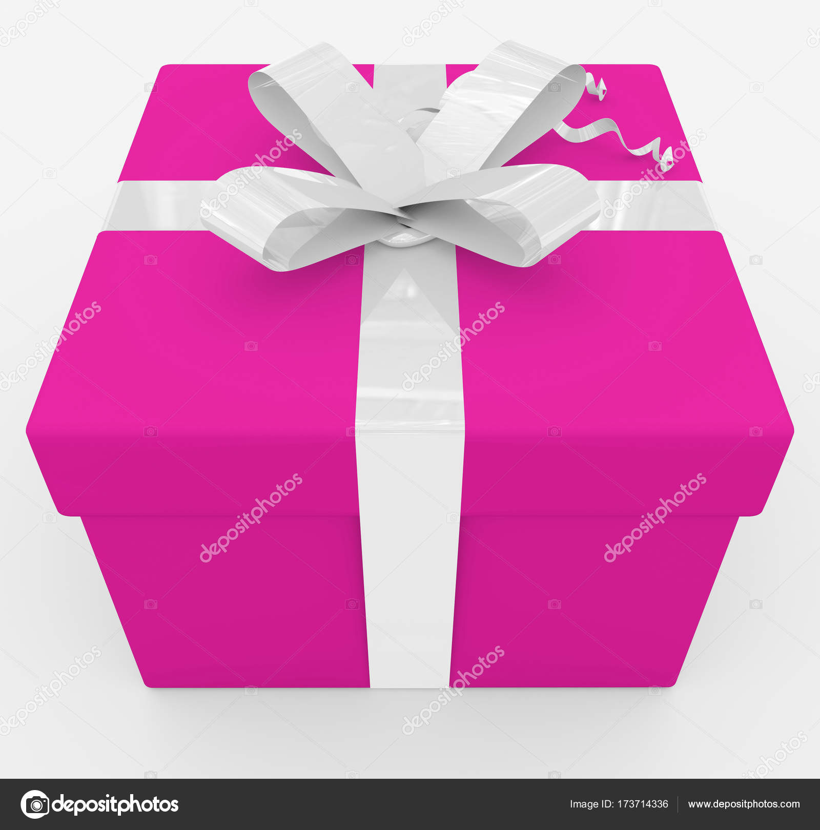 gift box - purple box, white ribbon - isolated on white — Stock ...