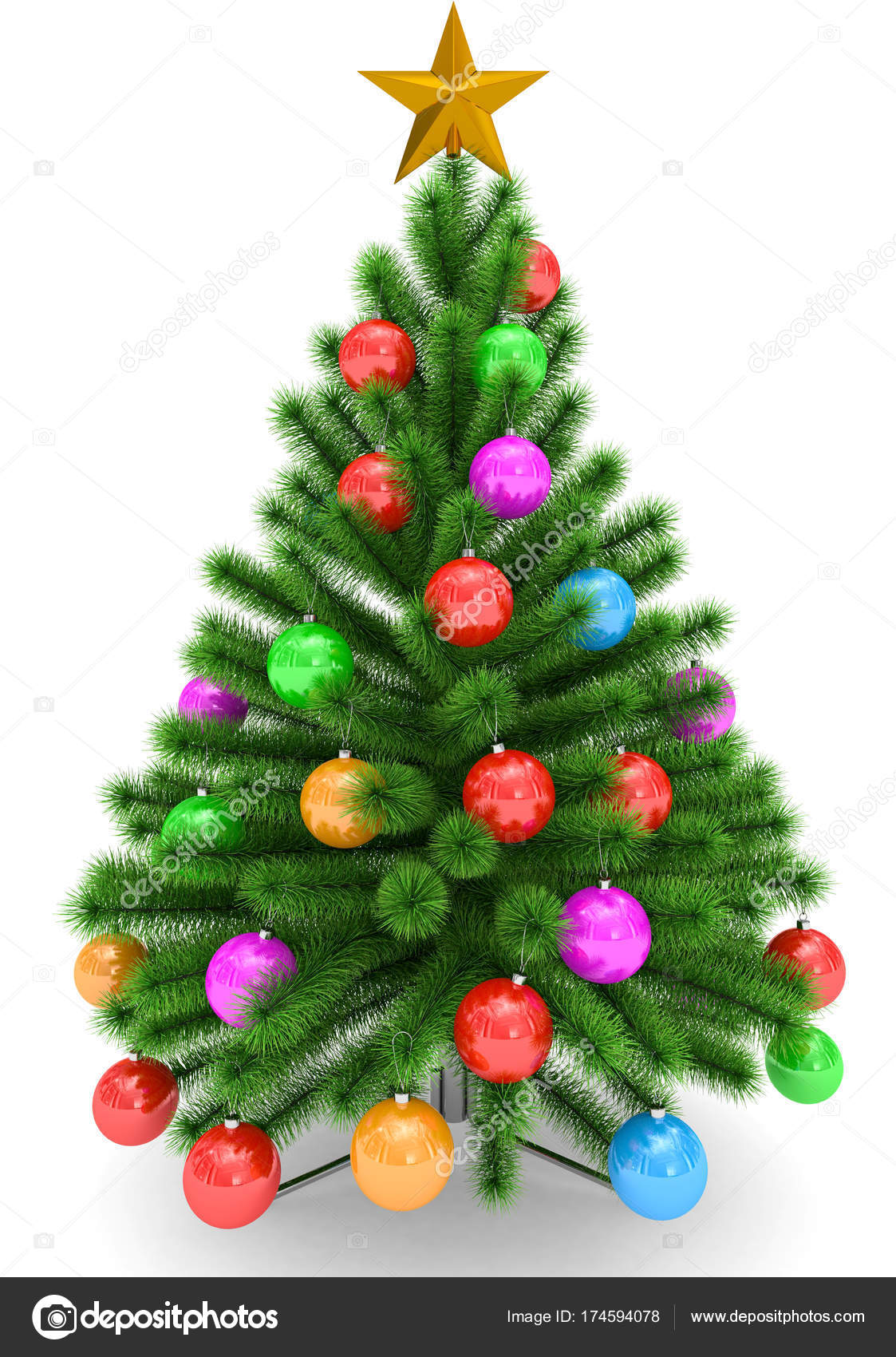 Christmas tree decorated with colorful Christmas balls and golde ...