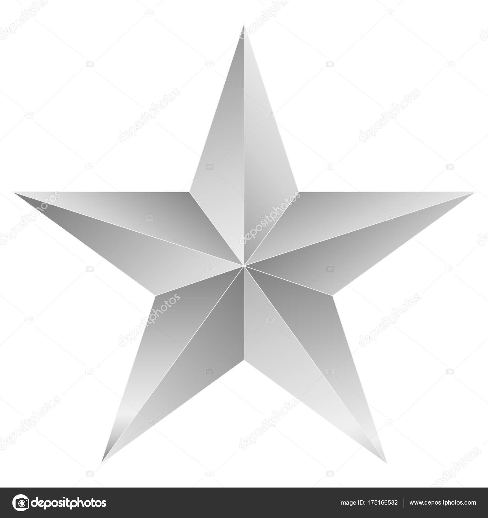 étoile De Noël Blanc étoile à 5 Branches Isolé Sur Blanc