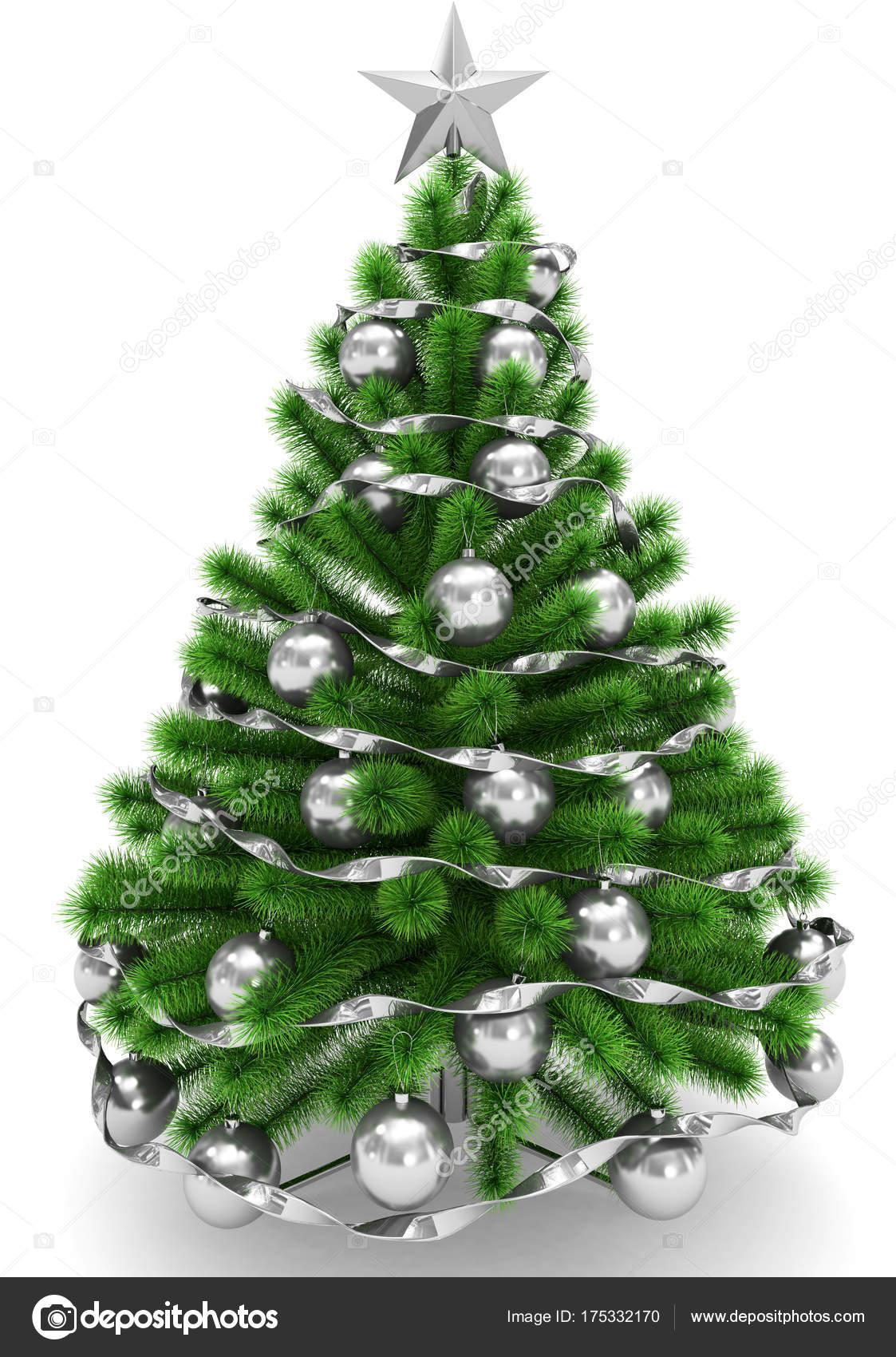 weihnachtsbaum geschm ckt mit silbernen weihnachtskugeln. Black Bedroom Furniture Sets. Home Design Ideas