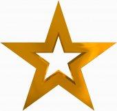 Vánoční hvězda zlatá - obrysy 5 cípá hvězda - izolované na Svatodušní