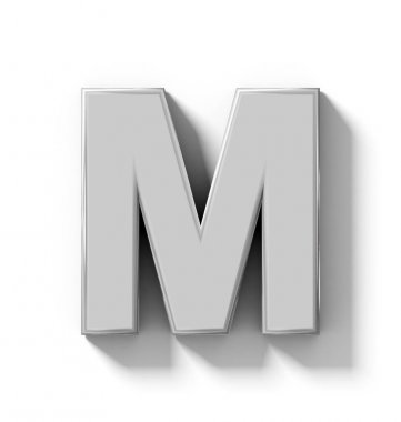 letter M 3D silver isolated on white with shadow - orthogonal pr