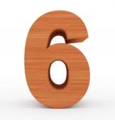 číslo 6 3d dřevěné izolované na bílém