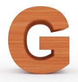 písmeno G 3d dřevěné izolované na bílém