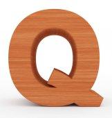 písmeno Q 3d dřevěné izolované na bílém