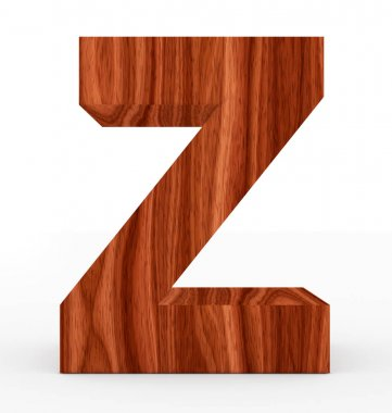 letter Z 3d wooden isolated on white