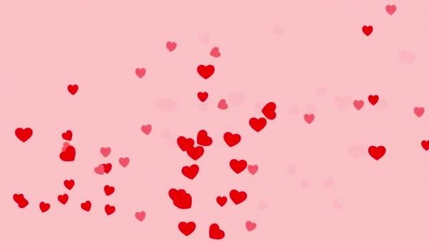 4k Valentines den a milují pozadí s pohybující se srdce v červené barvě.