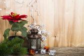Vánoční ozdoby dřevěné pozadí