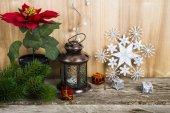 Vánoční ozdoby dřevěné pozadí. Vánoční hvězda