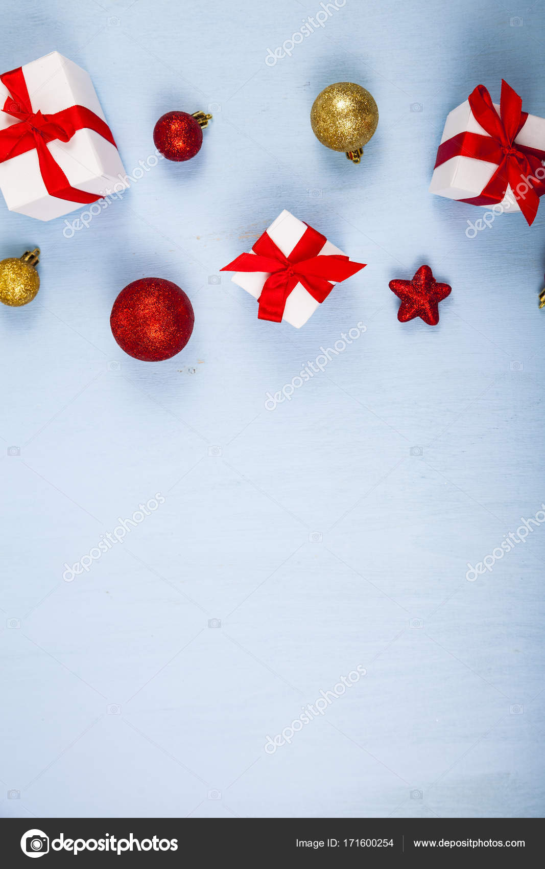 gifts with red bows and christmas decorations stock photo - Christmas Decorations Bows