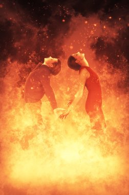 Woman and man on Fire