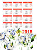Šablona pro kalendář 2018 s dekorativní kytice