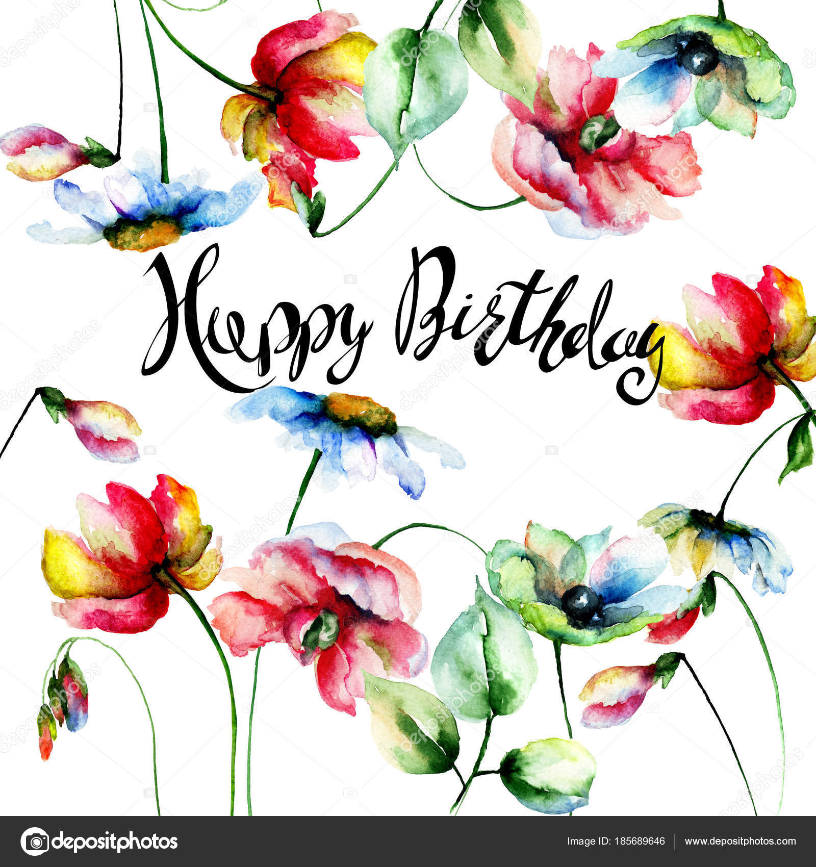 Decorative summer flowers with happy birthday stock photo decorative summer flowers with happy birthday stock photo izmirmasajfo