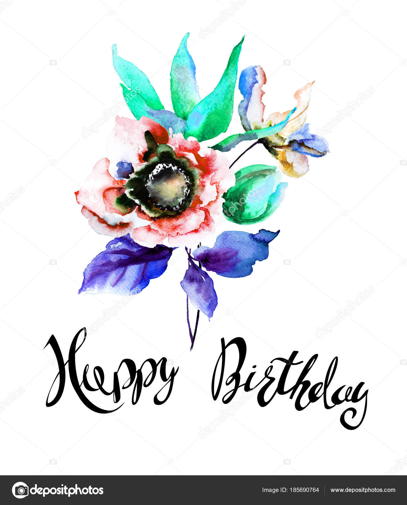 Stylized Spring Flowers With Title Happy Birthday Stock Photo