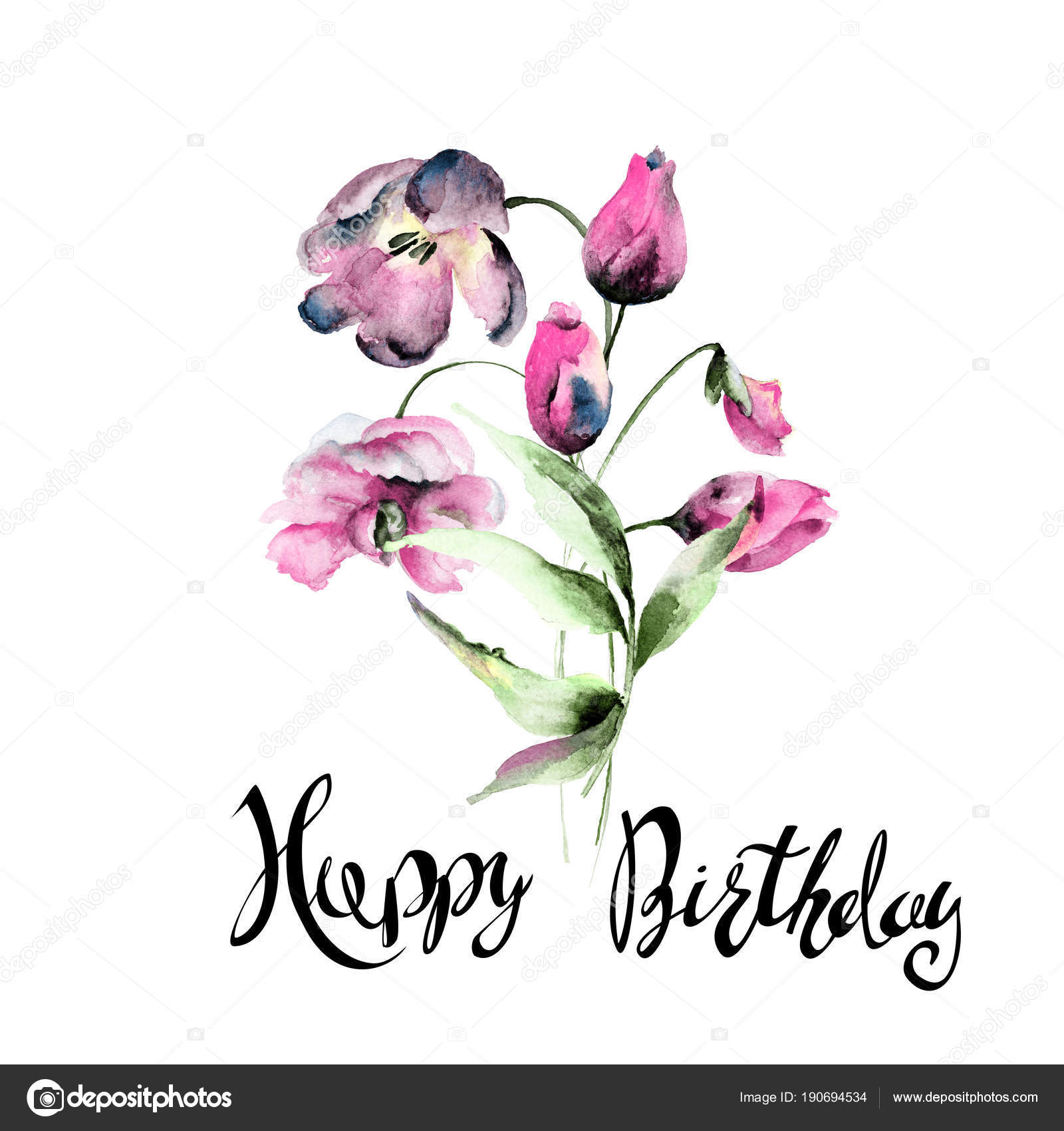 Beautiful tulips flowers with title happy birthday stock photo beautiful tulips flowers with title happy birthday stock photo izmirmasajfo