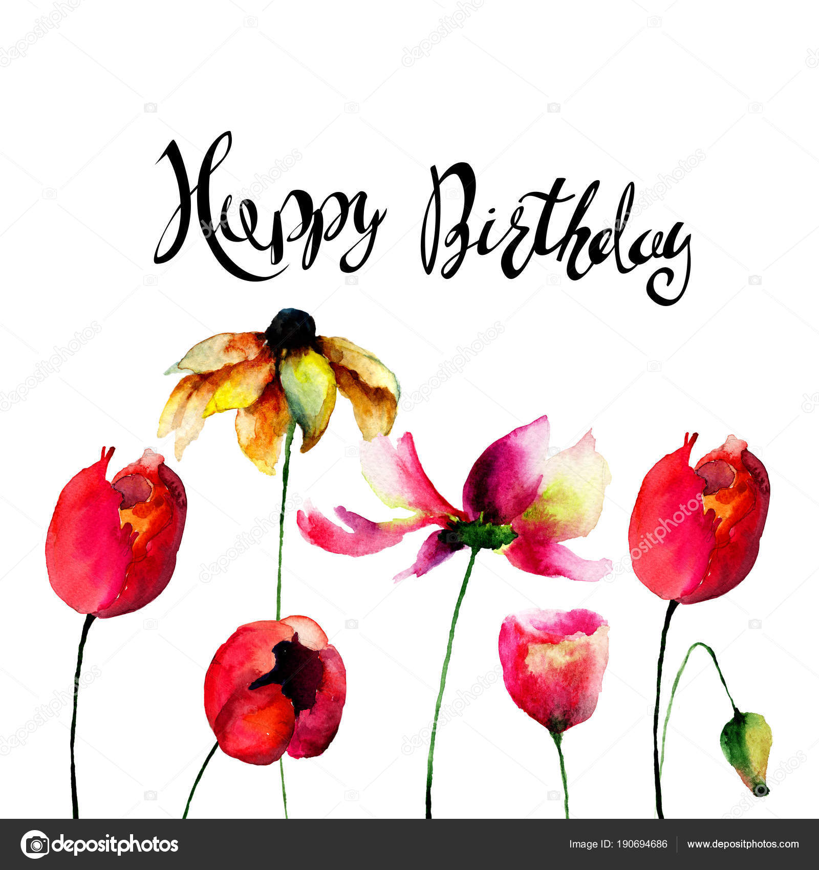 Gerber and tulips flowers with title happy birthday stock photo gerber and tulips flowers with title happy birthday stock photo izmirmasajfo
