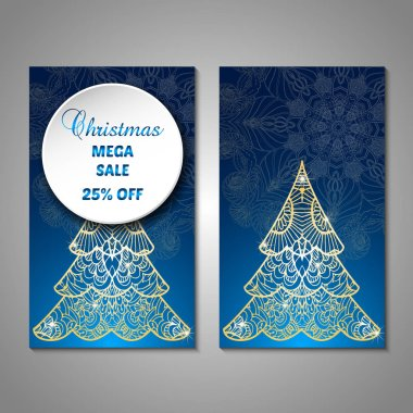 Christmas flyer, sale, card template.