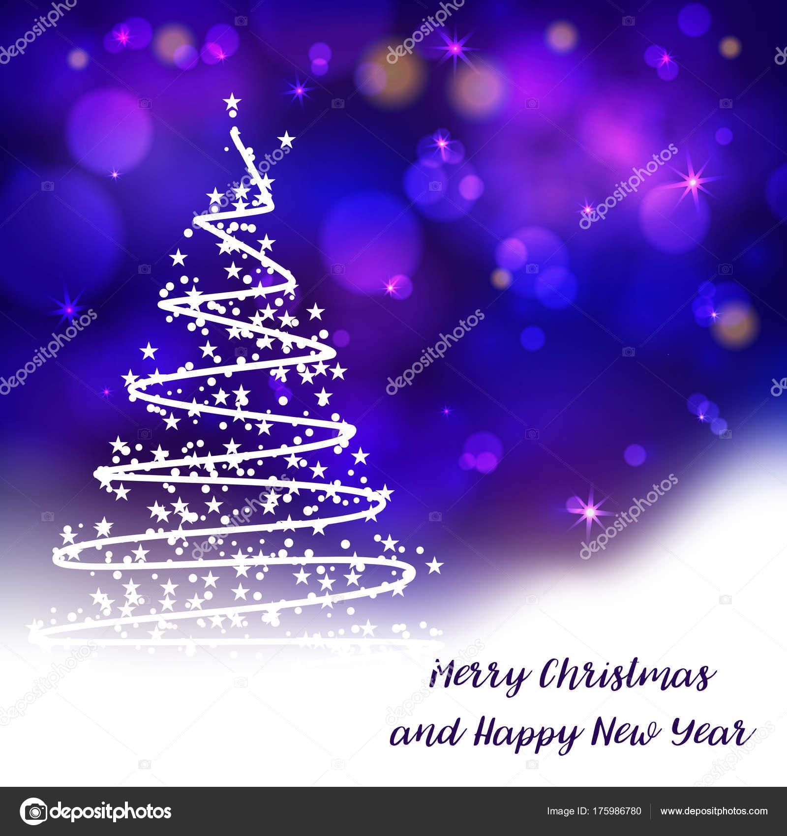 Presentaciones Feliz Navidad.Vector Arbol Navidad Estilizado Fondo Bokeh Decorativo Feliz