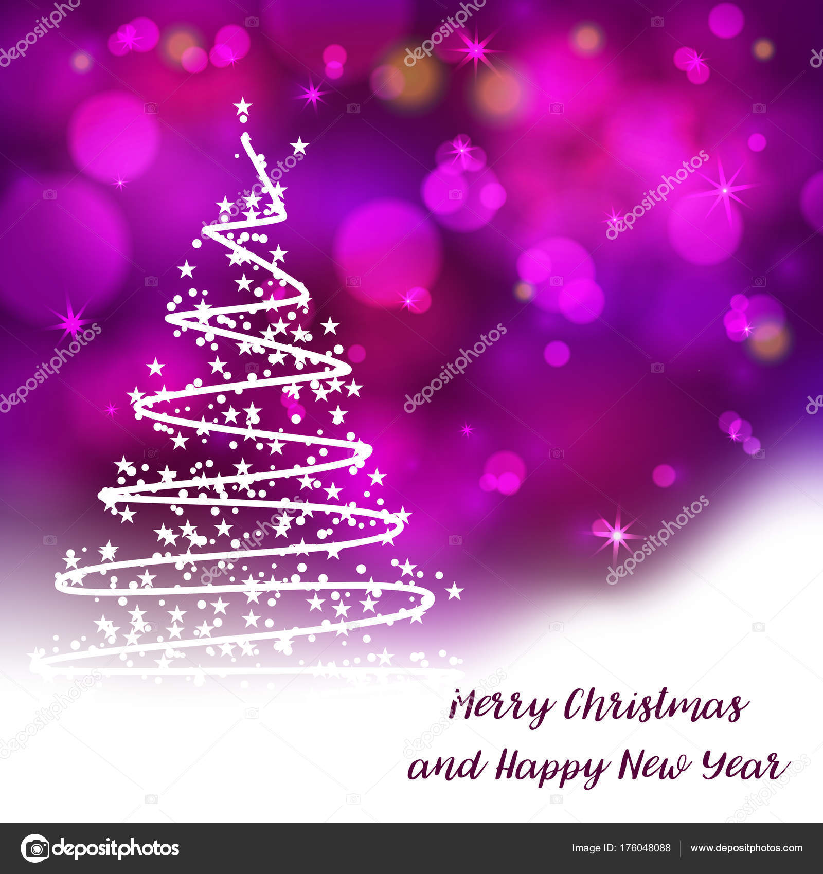 Vector Stylized Christmas Tree Decorative Bokeh Background Merry ...