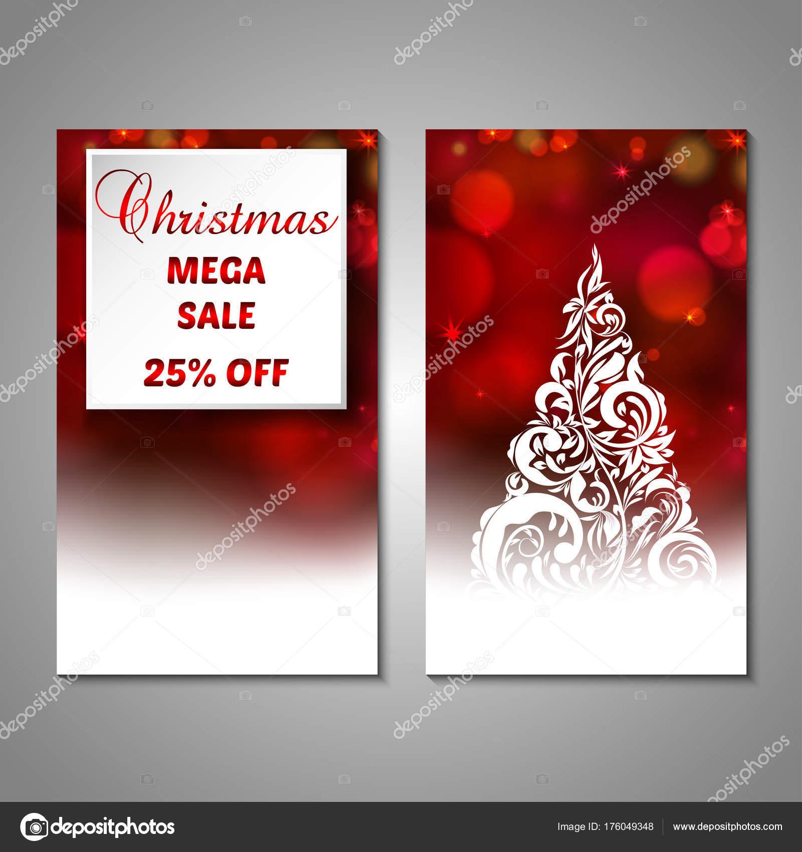Set Stylized Christmas Tree Invitation Flyer Sale Discont Card
