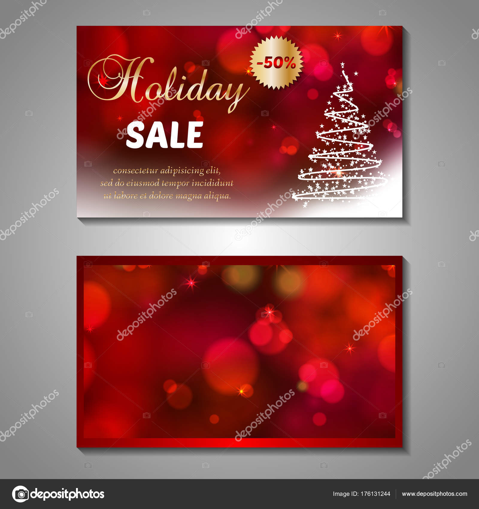 Set Stylized Christmas Tree Invitation Flyer Sale Discont Card