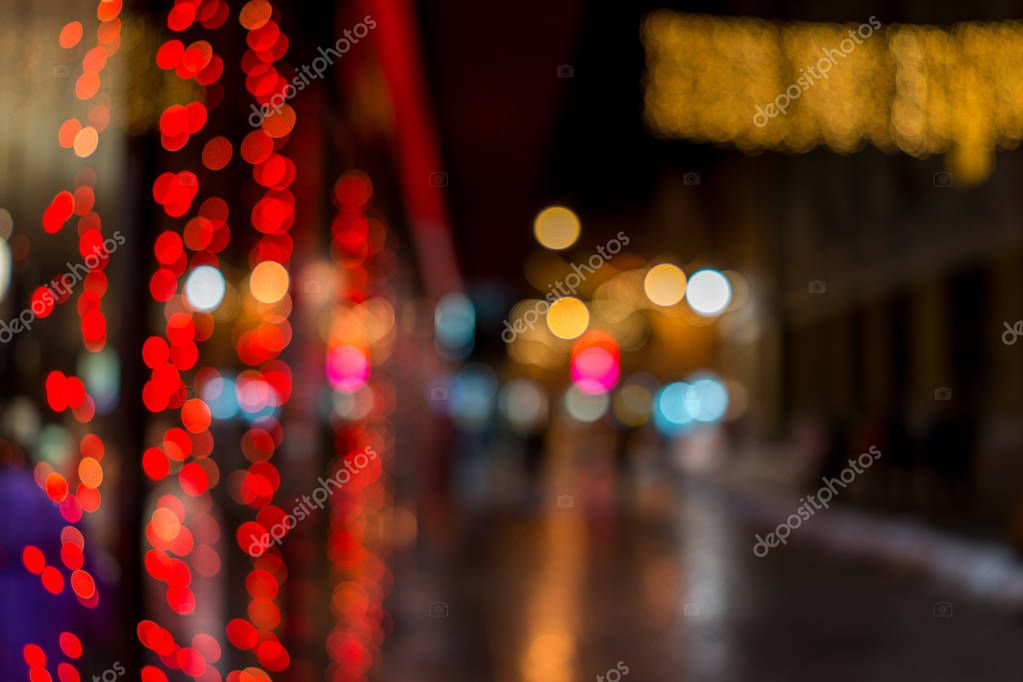 Blurred night street lights in winter
