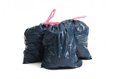Trash bags on a white background