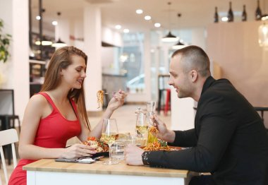 Lovely couple in cafe