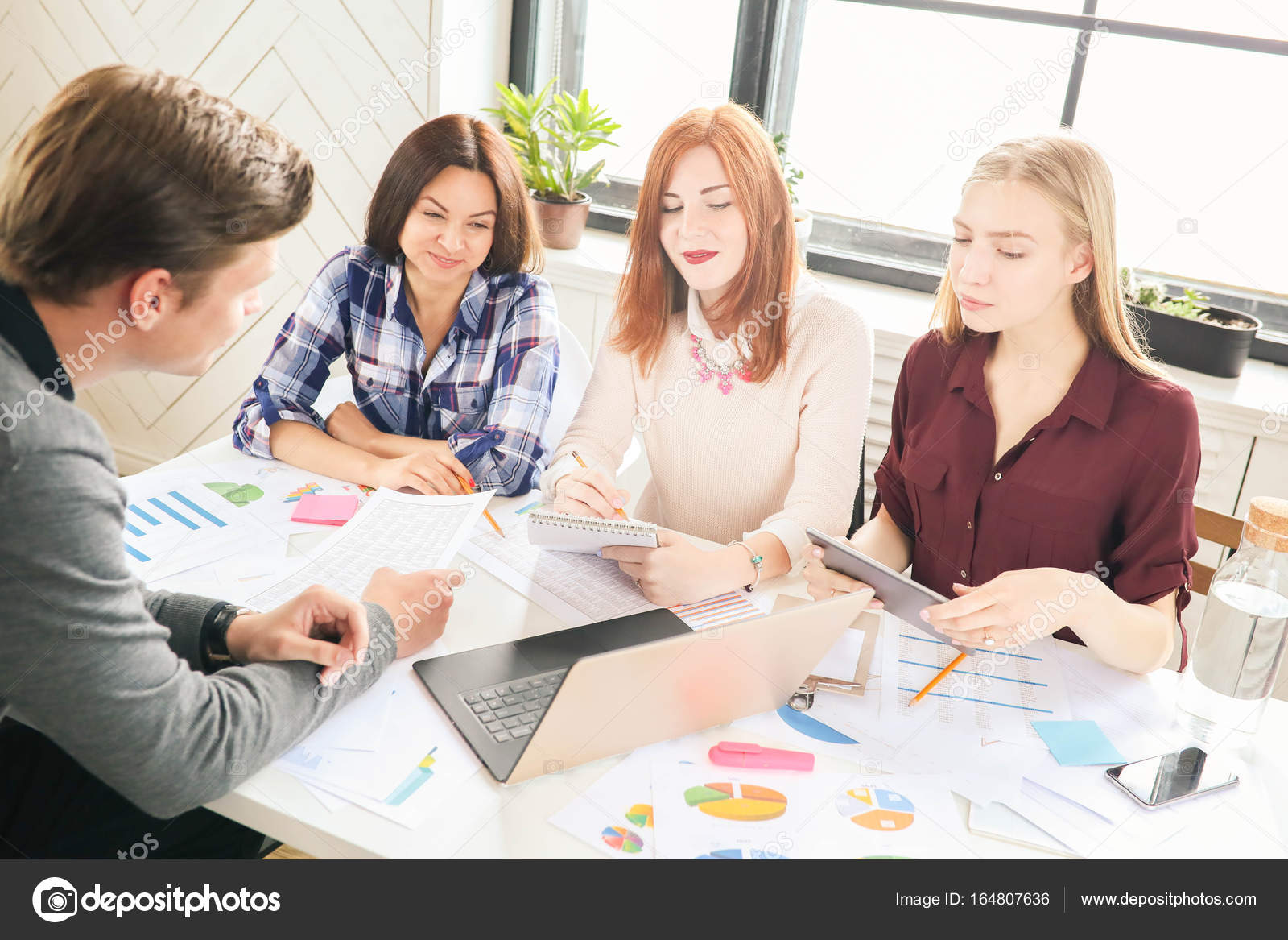 young business people laptop diagrams having meeting office — stock photo
