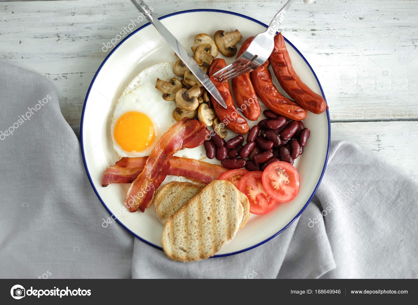 Cibo Cucina Colazione Inglese Zolla Bianca Uova Pancetta Salsicce ...