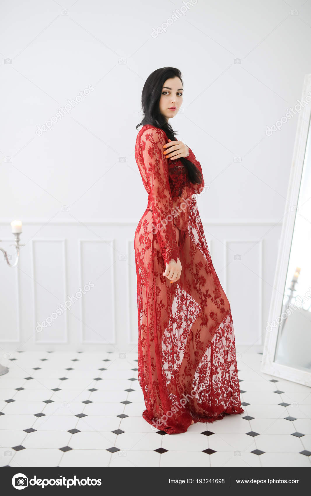 9d14dc2c35 Young Woman Red Lace Dress Posing Bathroom — Stock Photo ...