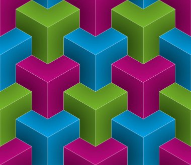Isometric seamless pattern. 3D optical illusion background.