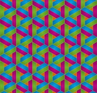 Multicolor Isometric Seamless Pattern. 3D Optical Illusion Background Texture. Editable Vector EPS10 Illustration. clip art vector