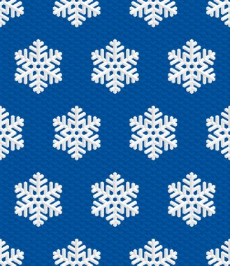 Traditional Christmas Seamless Pattern with White Isometric 3D Snowflakes on deep blue background. Editable Vector EPS10 Illustration for New Year Decoration. clip art vector