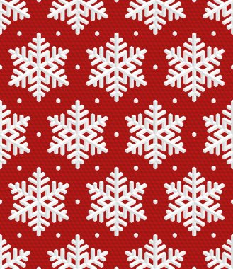 Traditional Christmas Seamless Pattern with Isometric 3D Snowfla