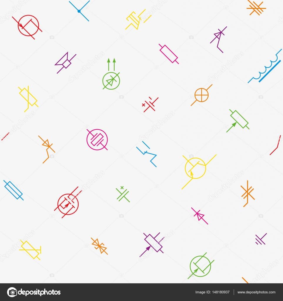 Elektronik Schaltung Komponenten Symbole nahtlose Tapete prasseln ...
