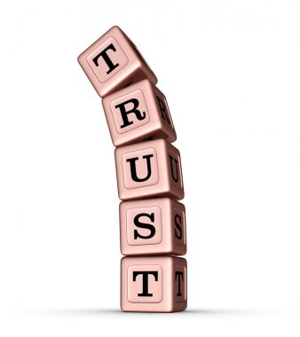 Trust Word Sign. Falling Stack of Rose Gold Metallic Toy Blocks.