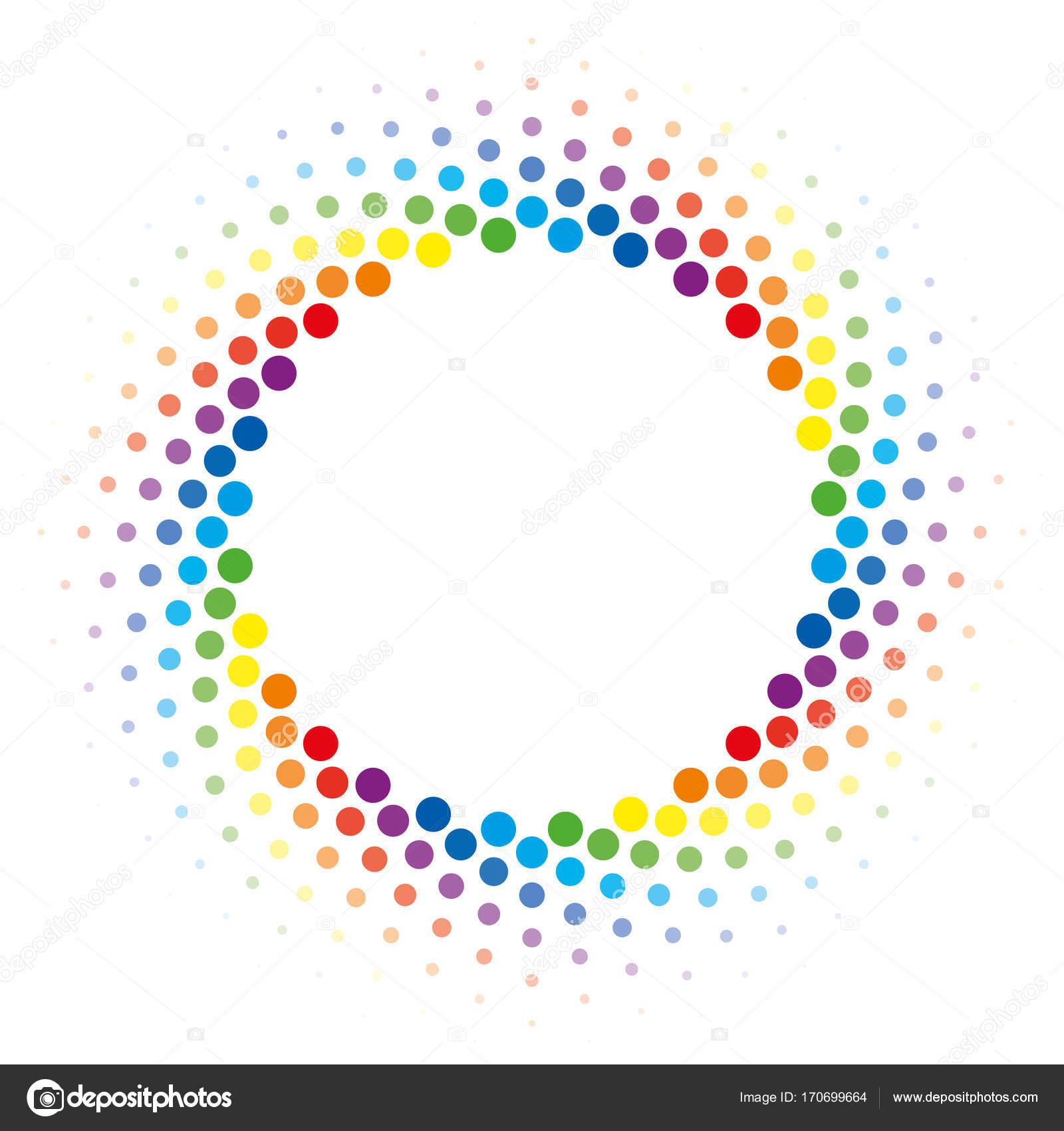 Arco iris semitono remolino círculo marco vector elemento de diseño ...