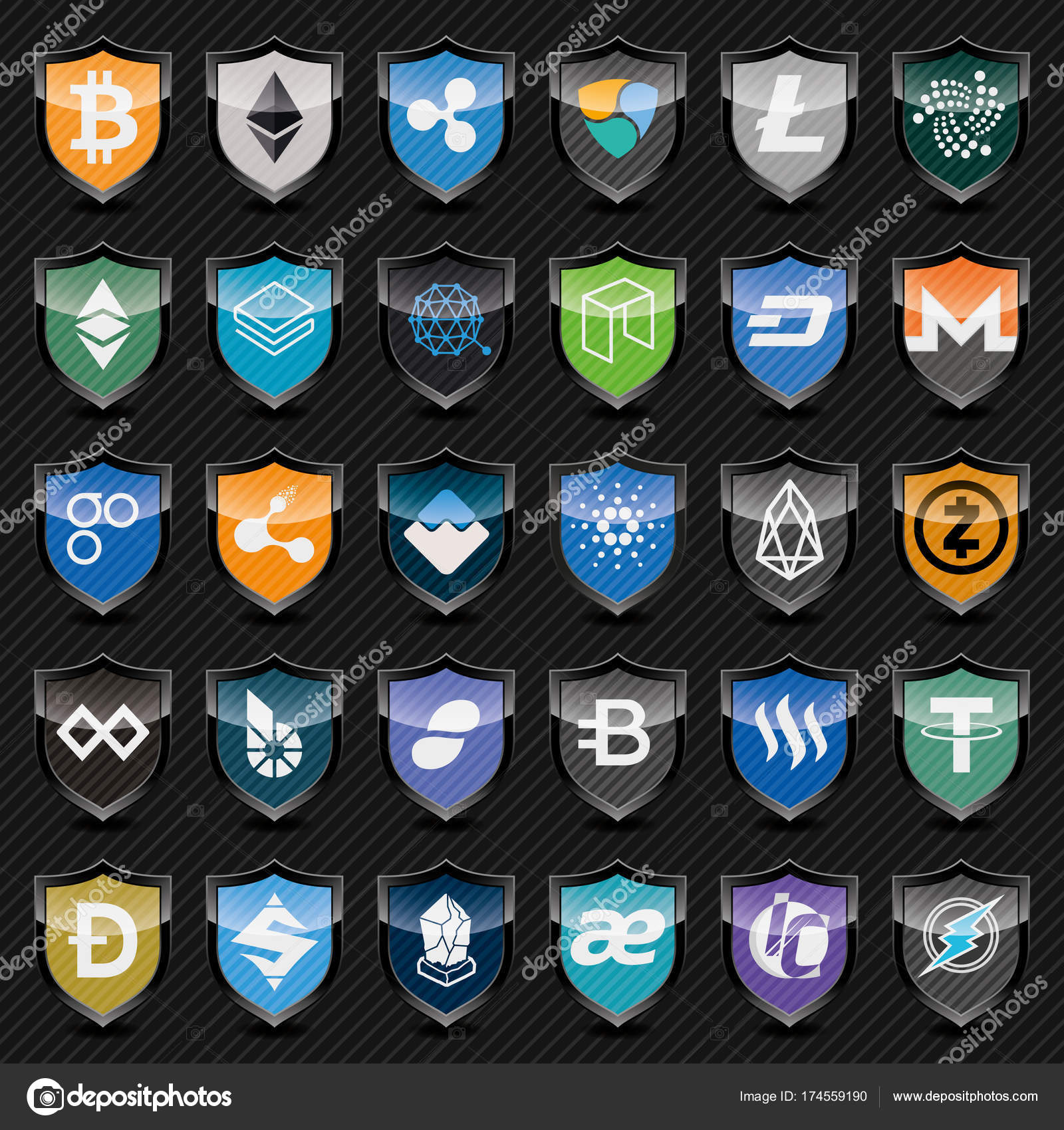 Black shields with cryptocurrency symbols icon set stock black shields with cryptocurrency symbols vector icon set for cryptocurrency mining pools or digital currency exchange vector by almagami biocorpaavc Images