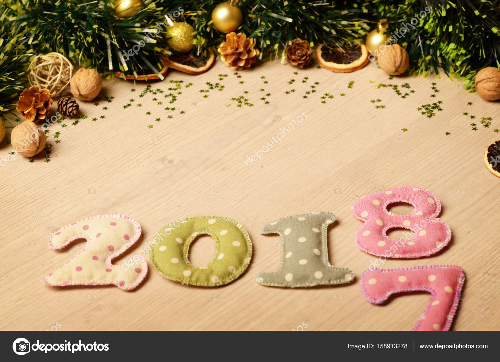 new year theme decoration figures of 2018 with golden balls stock photo