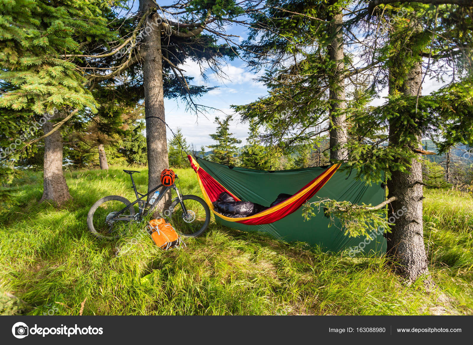 filled bag and or down a sleeping basic bikepacking tree pad just hammock tarp with gritcx minimalist bugnet without setup shown