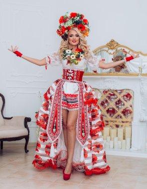 Ukrainian beautiful woman in national clothes stock vector